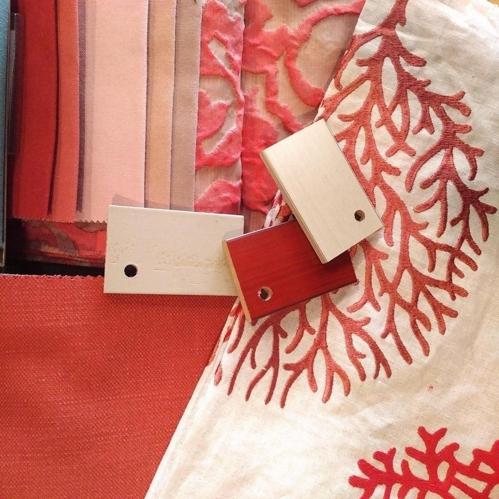 Coordinado tejidos tonos coral, rosas y blanco