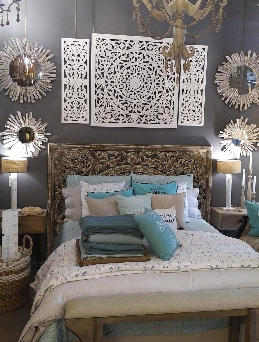 Coordinado textil en verde agua, blanco y azul ropa de cama y cojines de Lexington