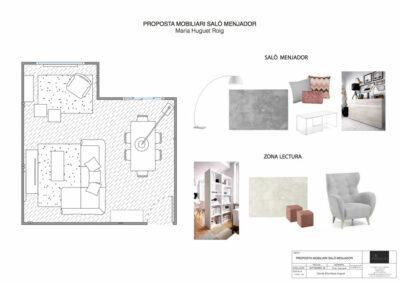 Plan con propuesta de interiorismo