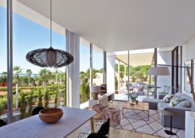 2 salón comedor con grgandes ventanales y acceso a la terraza