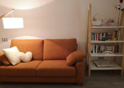 Sofá naranja Tangerine y libreria de madera